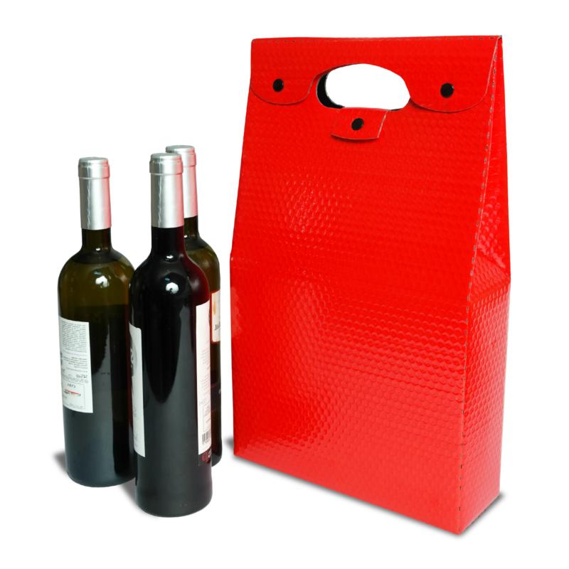 bolsa para tres garrafas de vinho com botao